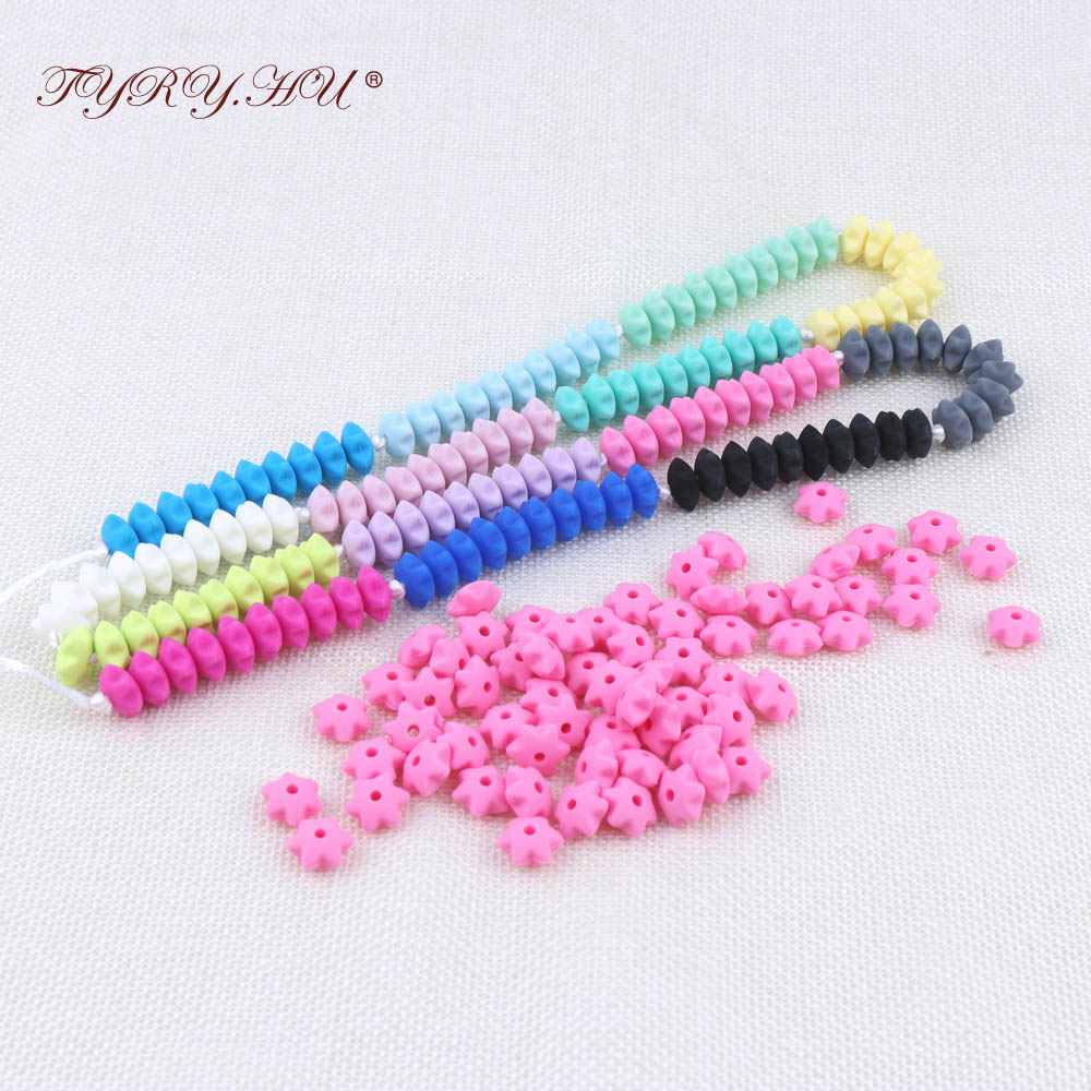 500pc Lentils Silicone Baby Teething Beads Chewable Silicone Star Beads Baby Nursing Chew Necklace Food Grade
