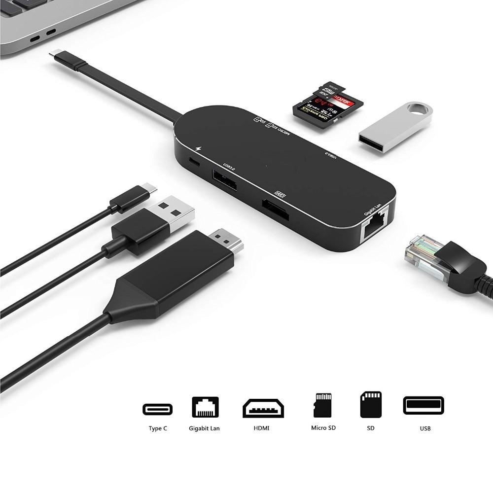7in1 Type C To HDMI 4K Video RJ45 Gigabit Ethernet USB 3.0 Hub SD TF Card Reader For MacBook Huawei MateBook цена