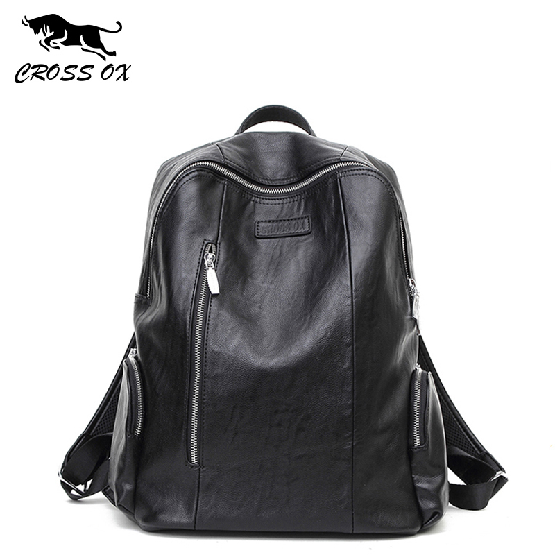 Cross Ox Vintage Pu  Backpacks For Men Unisex Casual Fashion Bag College Bags School Backpack Bk031m