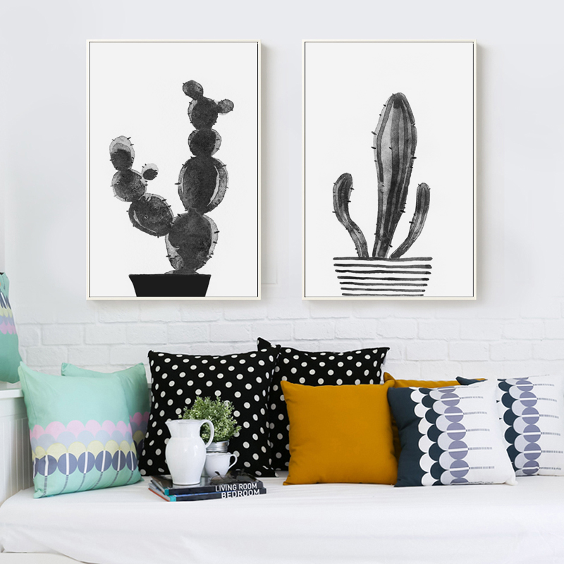 Bianche Wall Nordic Black and White Watercolor Cactus Canvas Painting Art Print Poster Picture Home Decor