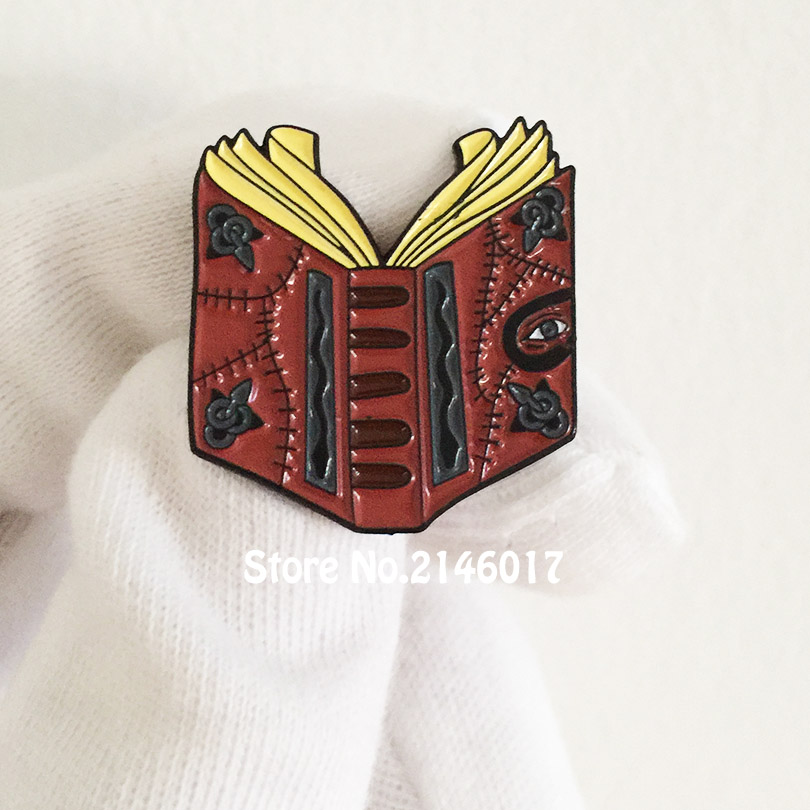US $6 99 |Hocus Pocus Spell Book Brooch Enamel Pins and Badge 1'' High  Halloween Lapel Pin 90's Nostalgia Metal Craft Gift-in Pins & Badges from  Home