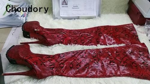 Women Python Gladiator Knee High Boots Red Wine Platform Zipper Over knee Booty HIgh Heel Slim Sexy Thigh Boots Plus Size 10
