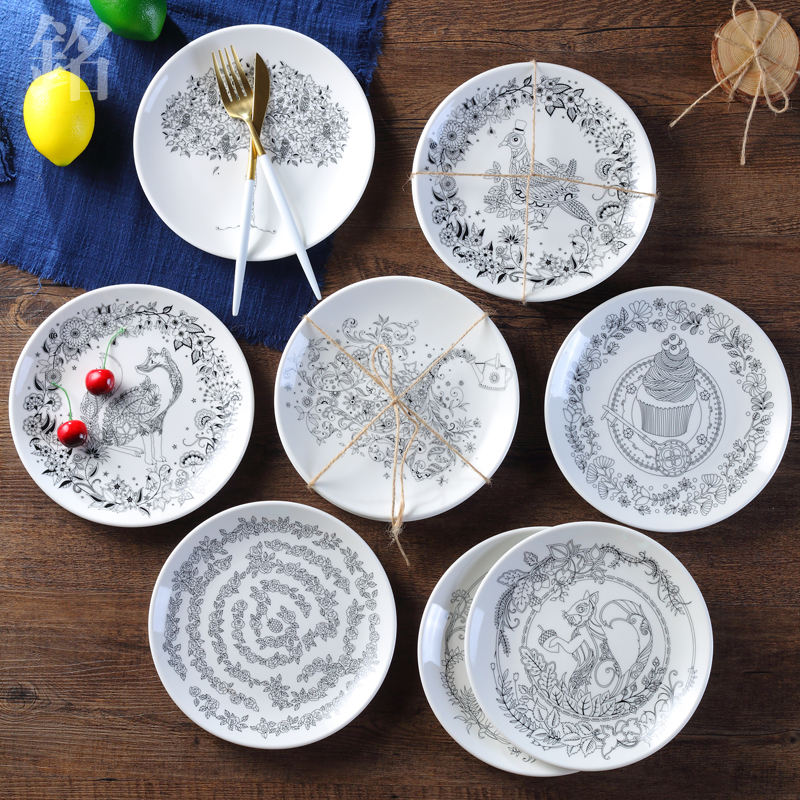 Creative Pastry Fruit Porcelain Tray Steak Dinner Ceramic Tableware Black White Animal Owl Flower Bone China Cake Dishes Plates-in Dishes u0026 Plates from Home ... & Creative Pastry Fruit Porcelain Tray Steak Dinner Ceramic Tableware ...