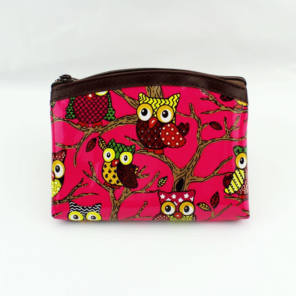 Fashion Graffiti Owl Coin Purse Change Purse Card Holder Handmade Leather Wallet Purse Women Clutch Zipper Coin Bag Pouch