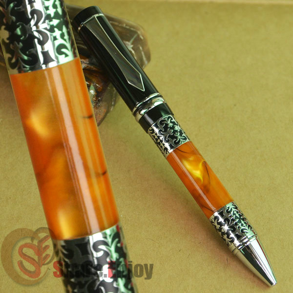 BOOKWORM 675 ORANGE CELLULOID BALLPOINT PEN SILVER FLOWER CARVED BOOKWORM 675 ORANGE CELLULOID BALLPOINT PEN SILVER FLOWER CARVED