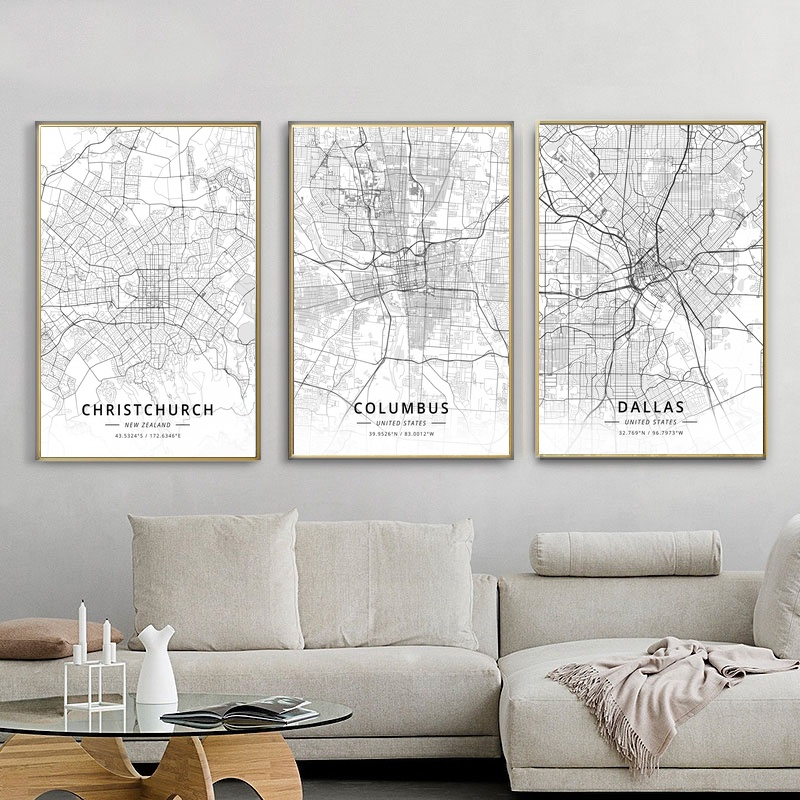 City Map Christchurch Columbus Dallas Delhi Poster Living