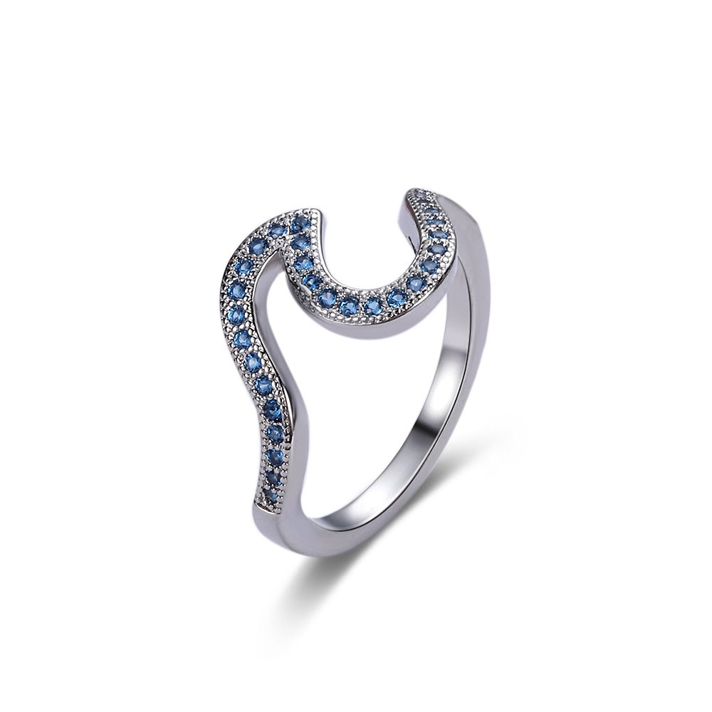 Surfer Sterling Silver Blue Sea Sapphire Inlay Crystal Rhinestone Wave Rings