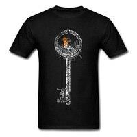 Forgotten Key Vintage Bird Print Men Black T Shirts Cotton Fabric T Shirt Short Sleeve Custom