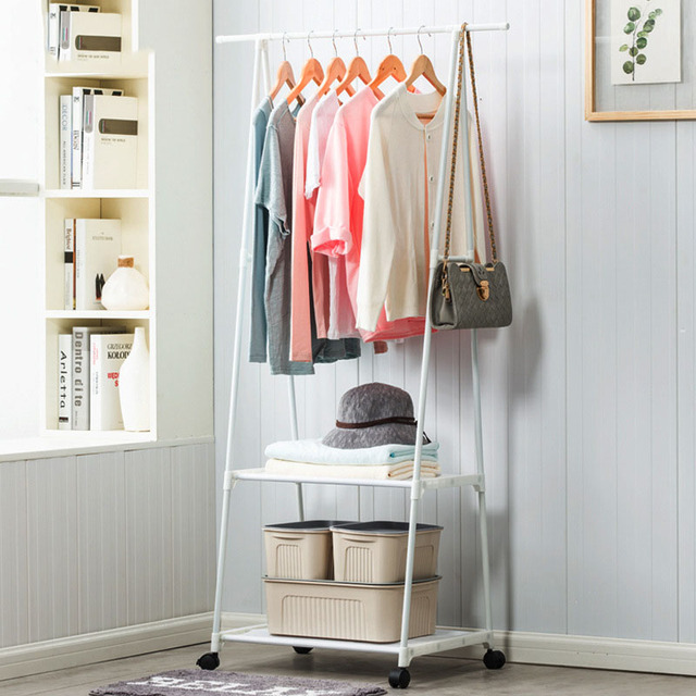 Multi Function Triangle Coat Rack Removable Bedroom Hanging Clothes Rack  With Wheels Floor Standing Coat