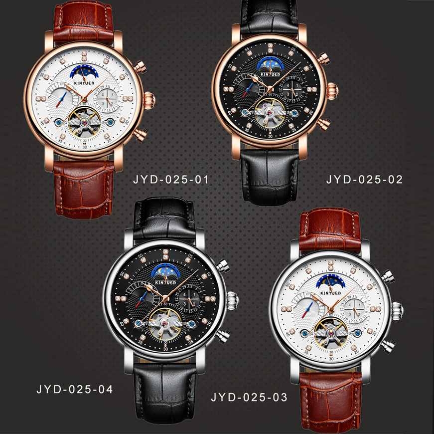 KINYUED Moon Phase Top Brand Mens Mechanical Watches Automatic Tourbillon Skeleton Watch Men Calendar Relogio Masculino KINYUED Moon Phase Top Brand Mens Mechanical Watches Automatic Tourbillon Skeleton Watch Men Calendar Relogio Masculino dropship