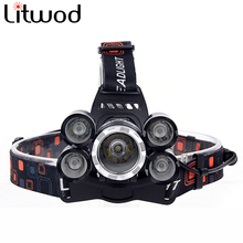 Z30 NEW 15000Lm XML T6 5 LED Headlight Headlamp Head Lamp Light 4 mode torch 2×18650 battery Car charger for fishing