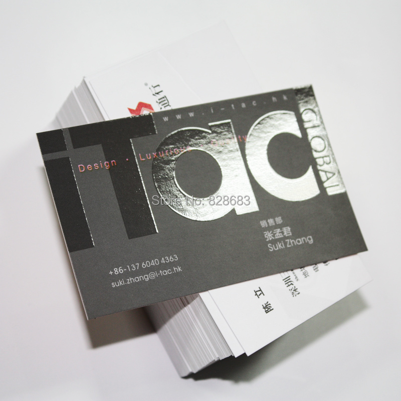 Free shipping Two faced printed Paper Business cards with UV coated LOGO 500pcs