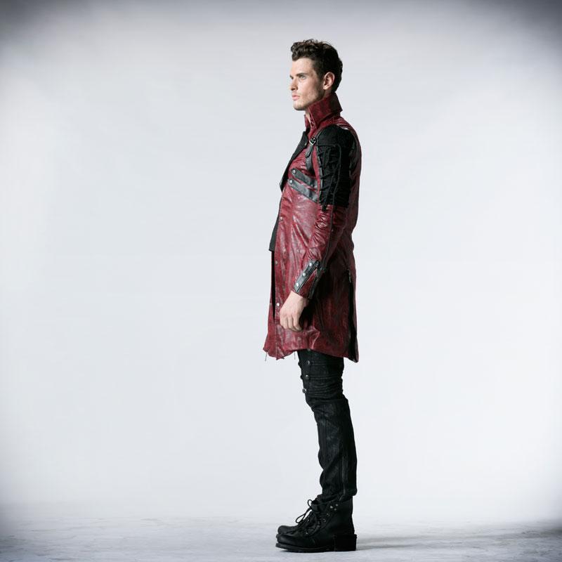 Gothic Retro Style Faux usnjeni dolgi plašči za moške Steampunk - Moška oblačila - Fotografija 5