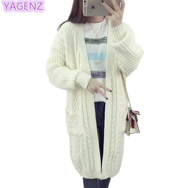 YAGENZ dámské pletené svetry dlouhý svetr ženy kabát ženy topy pletený svetr kabáty jarní a podzimní oblečení dlouhé bundy 121