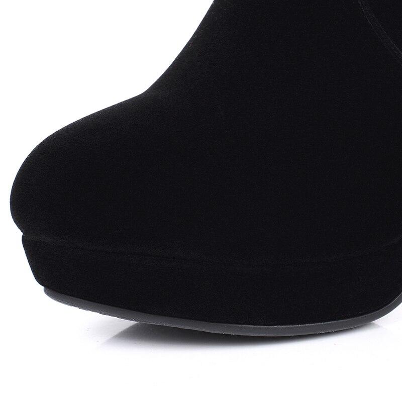 Para Botas Black Arden 2017 Tacones Rodilla La Moda Tacón De Punta Redonda Invierno Sobre Furtado Bordadas Hoof Plataforma Alto Mujer wHvrHIq