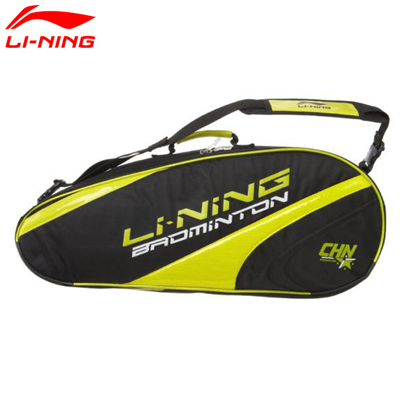 Li-Ning Badminton Rackets Bag For 3 Rackets Load LiNing Professional Racquet Sport Bags ABJG014 KZQ1081 li ning professional badminton rackets turbo charging 9ii td offensive lining racquets aypm316 l853ola