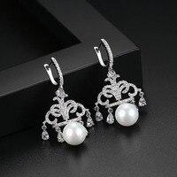 High Quality Ethnic Chandelier Earring Flared Dangle Earrings For Women Cubic Zirconia Pearl Drop Earrings Jewelry