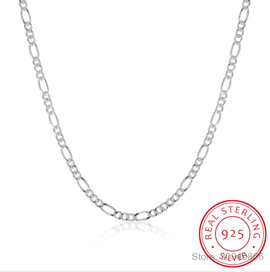 LEKANI Hot Sale 925 Sterling Silver 2MM Figaro Chains Necklace Fine Jewelry 925 Silver Figaro Chain Necklaces 16