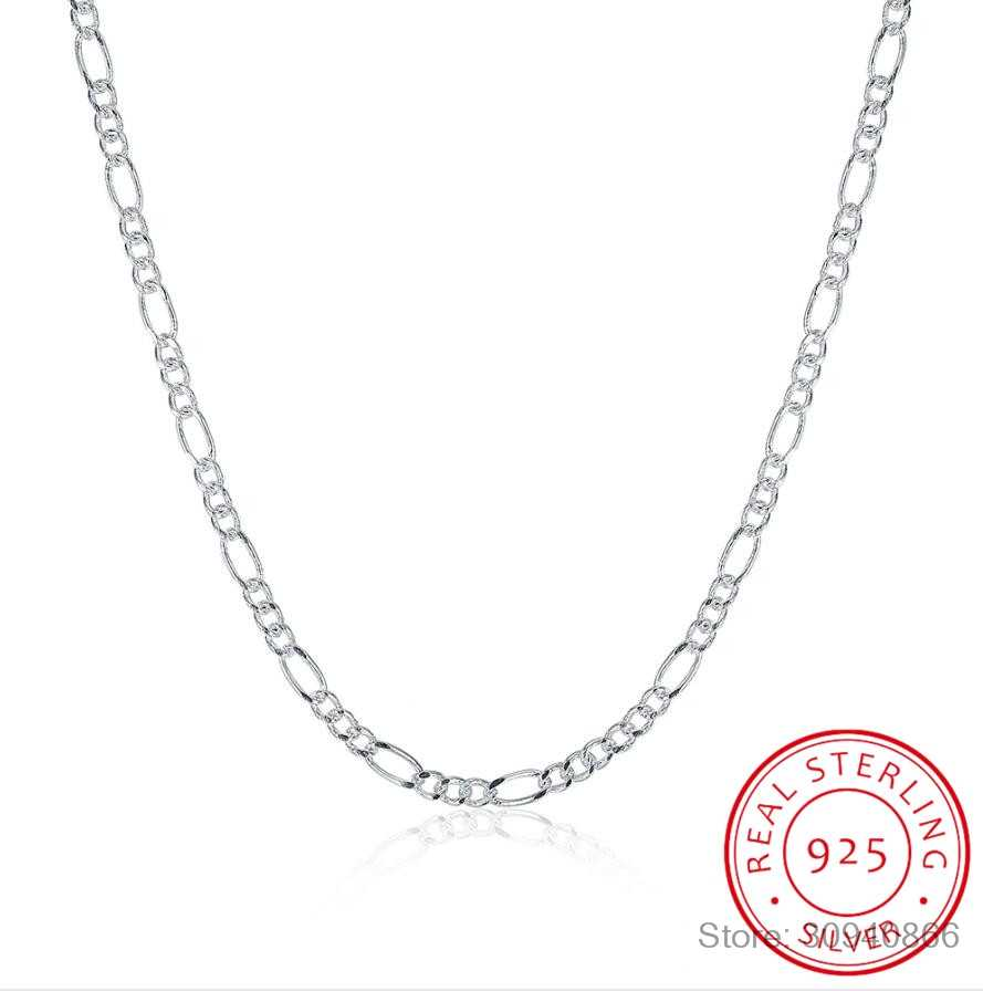 "LEKANI Hot Sale 925 Sterling Silver 2MM Figaro Chains Necklace Fine Jewelry 925 Silver Figaro Chain Necklaces 16""-24"""