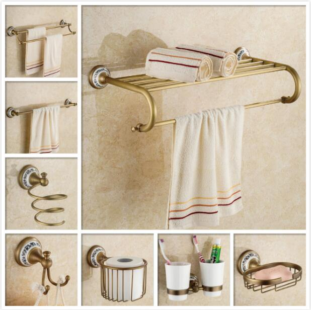 Free shipping brass bronze finished Bathroom Accessories Set,Robe hook,Paper Holder,Towel Bar,Gold bathroom sets зеркало заднего вида airline amr 03