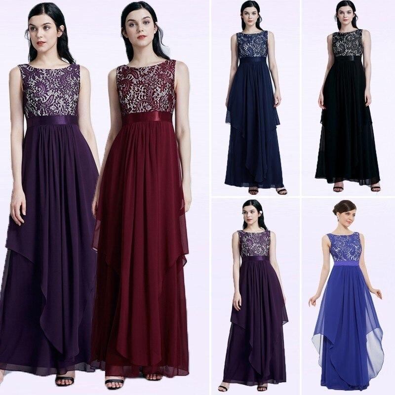 Long Bridesmaids Dresses Plus Size New Elegant A Line Sleeveless Chiffon Wedding Party Gowns With Lace Robe Demoiselle D'honneur