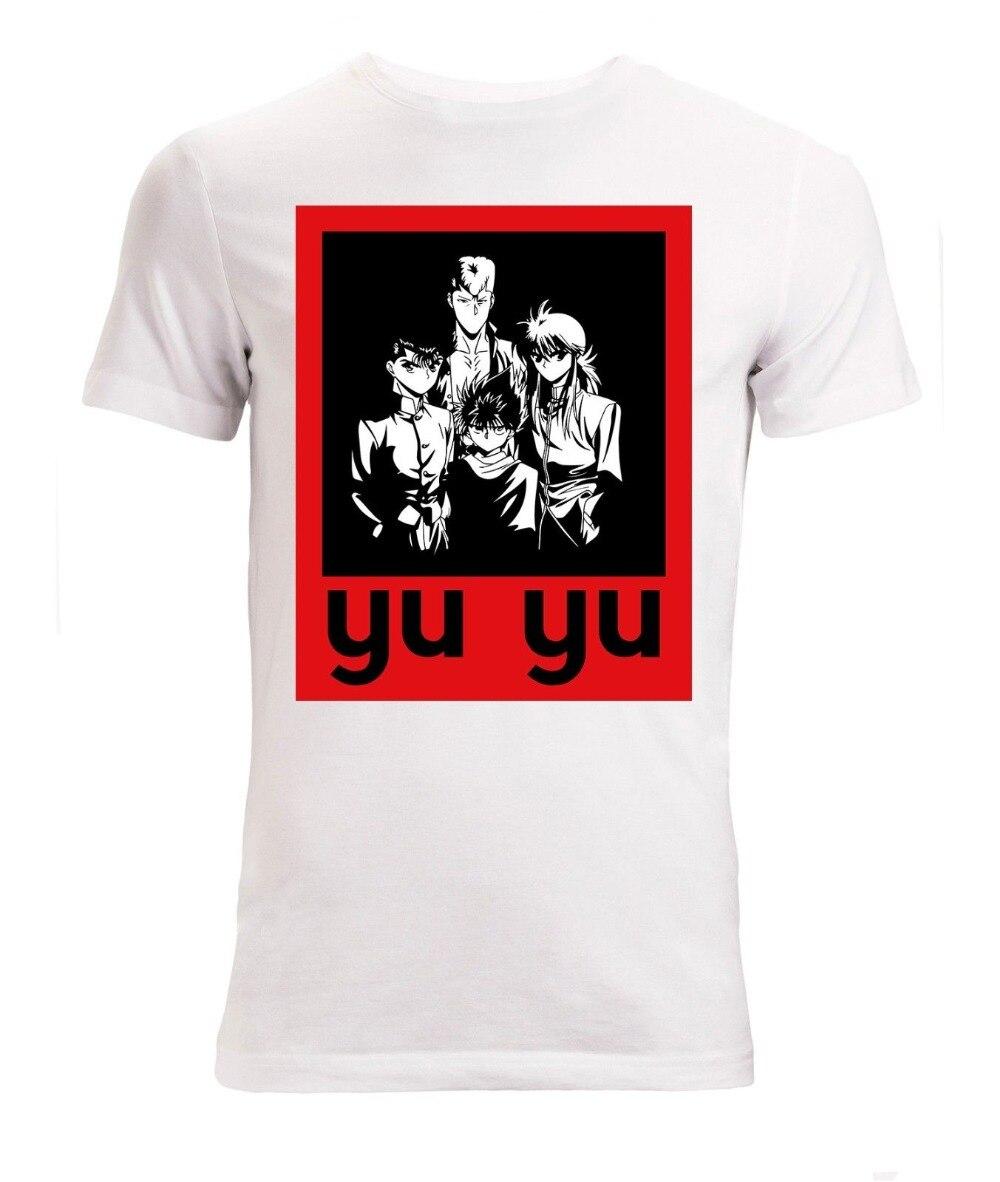 2018 Ontwerpen Mannen Zomer Stranger Dingen Yu Yu Hakusho Anime Karakters Men's (vrouw Beschikbaar) Witte Top Groen T-shirt