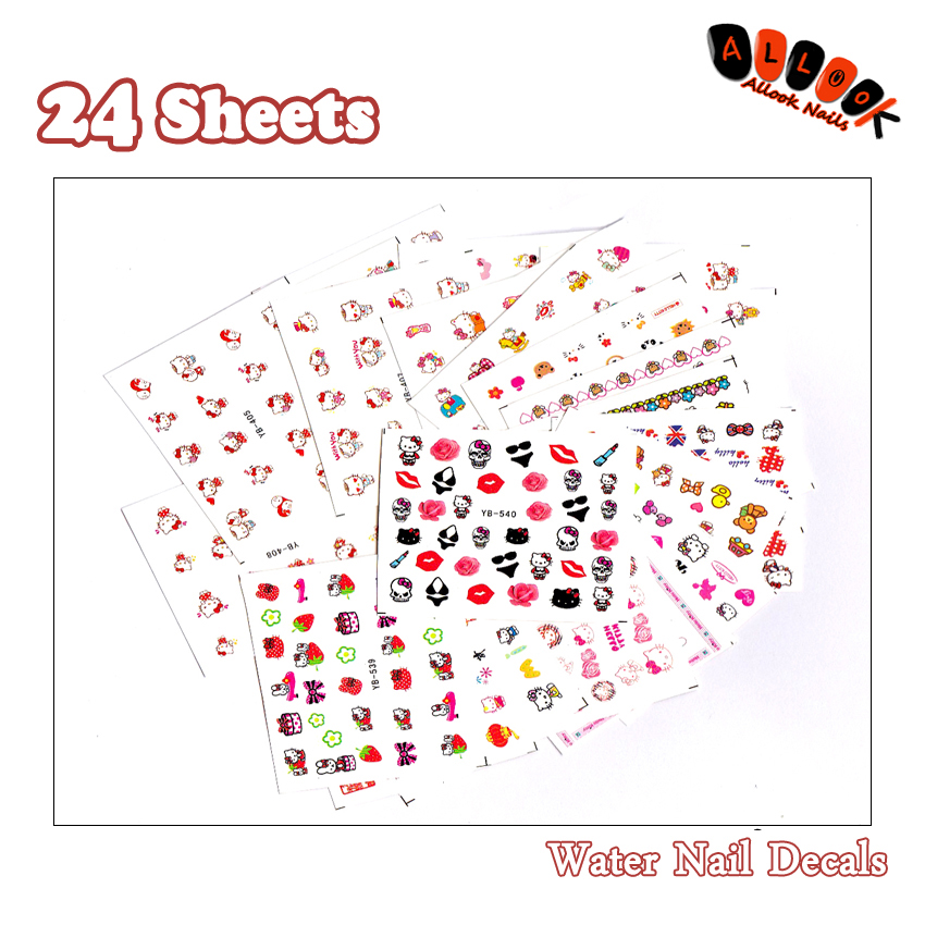 Nail 24Sheets/Lot Mix 24 Different Cartoon Hello Kitty Nail Art Water Sticker Decal For Nail Art Decoration 24YB540 nail art large piece yb529 540 12 designs in 1 cartoon pet hello kitty nail art water transfer sticker decal for nail