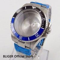 사파이어 크리스탈 43mm 스테인레스 스틸 시계 케이스 세라믹 베젤 스틸 팔찌 eta2836 miyota 8215 무브먼트 시계 부품