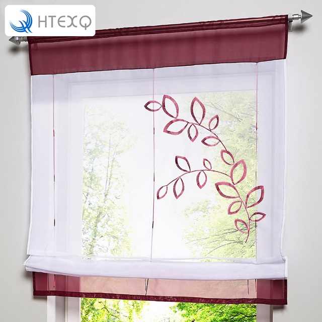 Roman Shade European Window Curtain Embroidery Style Tie Up Kitchen Voile Sheer Tab Top