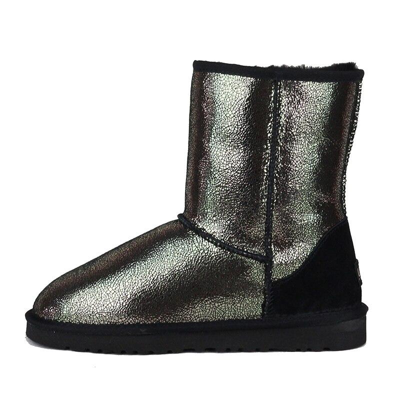 Genuina Oveja Invierno De As Uvwp Lana Mediados Piel 100 Nueva Mujeres Las Para Superior Calidad Mujer Botas Nieve Pic Natural Zapatos Caliente xnw76Pn