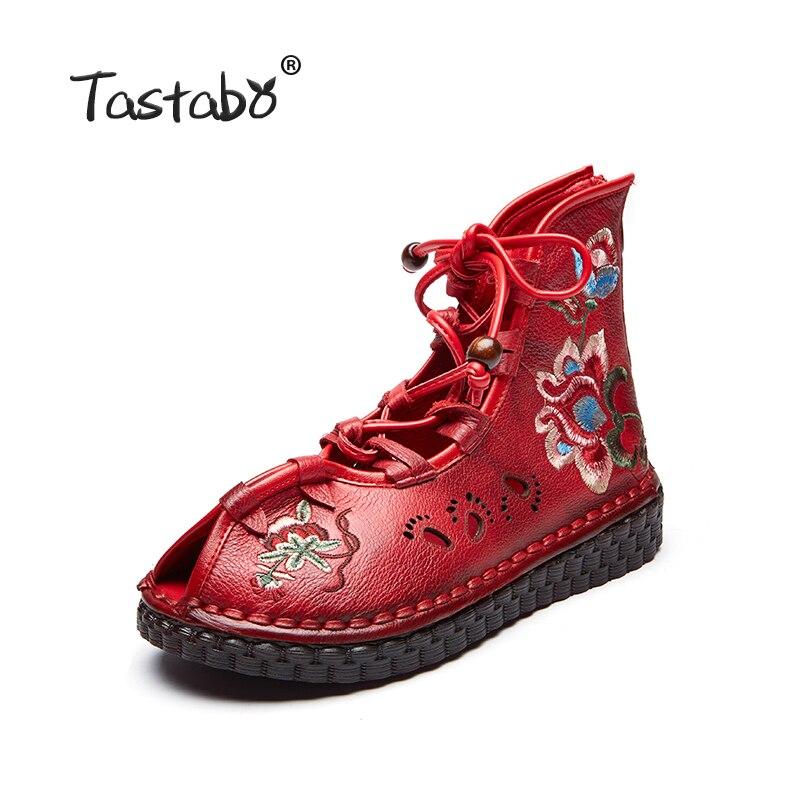 Tastabo ผู้หญิง Retro Casual Handmade รองเท้าข้อเท้ารองเท้าแบนหนังแท้รองเท้าผู้หญิงรองเท้า Breathable สบายเท้ารูปแบบ Openwork-ใน รองเท้าบูทหุ้มข้อ จาก รองเท้า บน   2