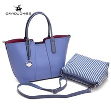 DAVIDJONES Famous Brand Women Bag Top-Handle Bags ladies Messenger Bags Handbag Set PU Leather lager capaciry Composit bag