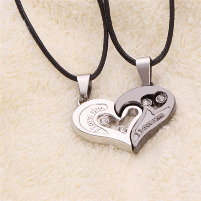 Hot Design I Love You Heart Shape Pendant Necklace Two Parts Heart