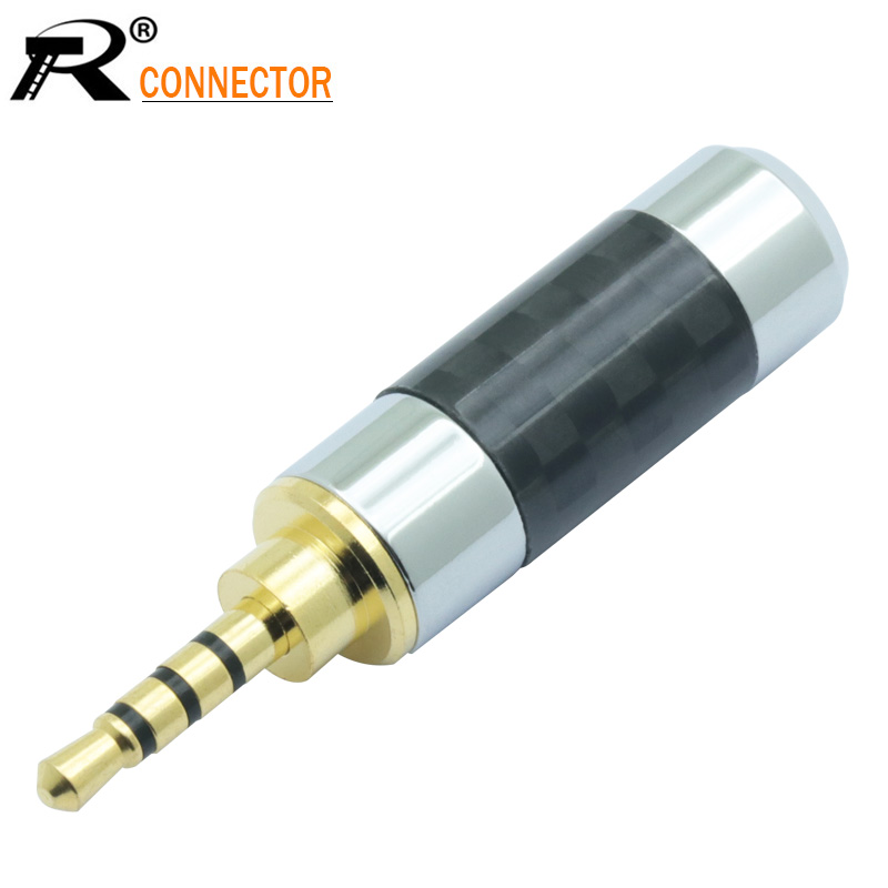 Gold Plated Audio Wire Connector Jack 2.5mm 4 Pole Stereo Male Plug Carbon Fiber Adapter Solder Connector Fit For 6mm Cable