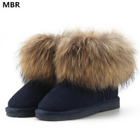 MBR Top Fashion Cow Suede Leather 100 Natural Fox Fur Women Short Winter Ankle Snow Boots