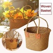 Nueva cesta tejida a mano de algas marinas Vintage 1 Uds. Cesta de almacenamiento de flores para la playa