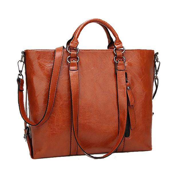 Fashion Women Handbag PU Oil Wax Leather Women Bag Large Capacity Tote Bag Big Ladies Shoulder Bags WH15