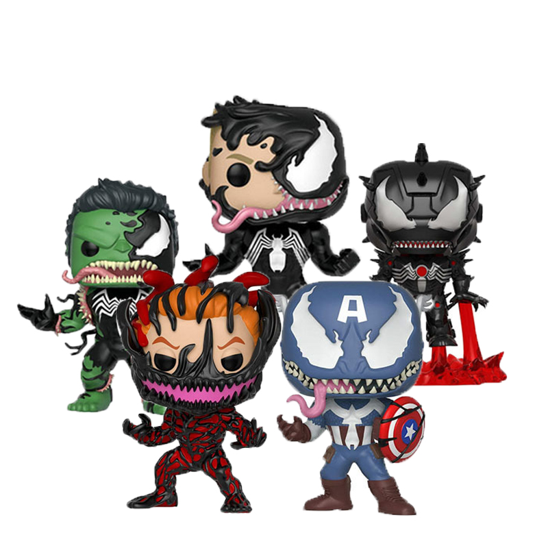 FUNKO POP Marvel Figure Iron Man Hulk Captain America Cosplay Venom PVC Action Figure Toy Model Birthday Gifts 10CM With Box