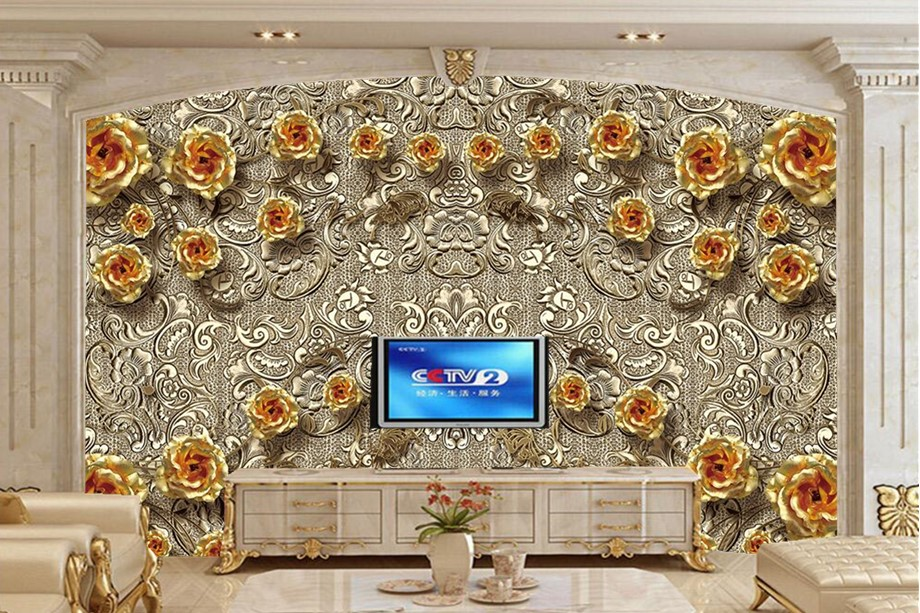 large 3d murals chinese great wall wallpaper papel de parede restaurant living room sofa tv wall bedroom wall papers home decor Custom Luxurious Gold Rose painting wallpaper,restaurant hotel living room tv sofa wall bedroom papel de parede large murals