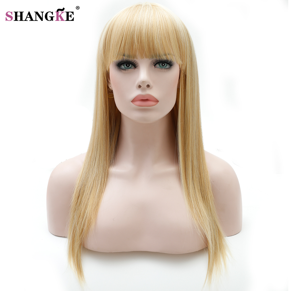 SHANGKE 22   Long Straight blonde Wig For Women Synthetic Wigs For Women  Heat Resistant False Hair Pieces Women Hairstyles-in Synthetic None-Lace  Wigs from ... 65eb8687237f