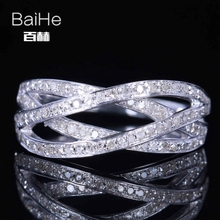 BAIHE Solid 14K White Gold(AU585)0.4CT Certified H/SI Round Cut Genuine Natural Diamonds Wedding Women Trendy Fine Jewelry Ring