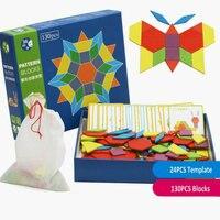 Free Shipping 130 Pieces Kids Montessori AIDS Creative Wooden Puzzle Toy Montessori Creative Puzzle Pattern Puzzle