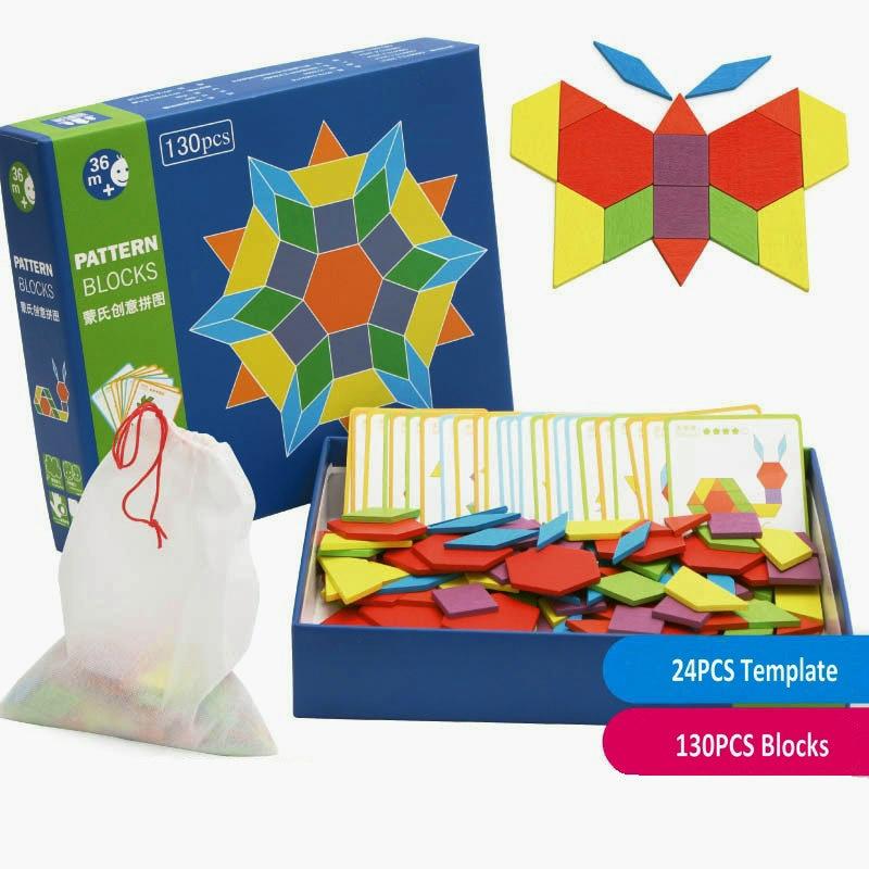 Free shipping 130 pieces Kids montessori AIDS creative wooden puzzle toy, Montessori creative puzzle/Pattern puzzle toy wood toy puzzle toy wooden three open kong ming lock