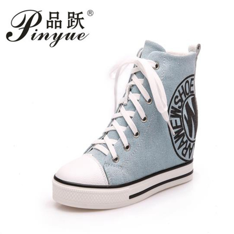 e07ed0707b11 2018 Wedge High Heels Thick Soled High Top Ladies Casual Shoes Women  Platform Canvas Shoes Hidden Wedge Heel Boots Zapatos Mujer