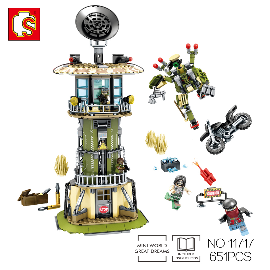 Sembo block military Watchtower building block toys Compatible Legos robot technic enlighten toy for over 6 age Children friend цена и фото