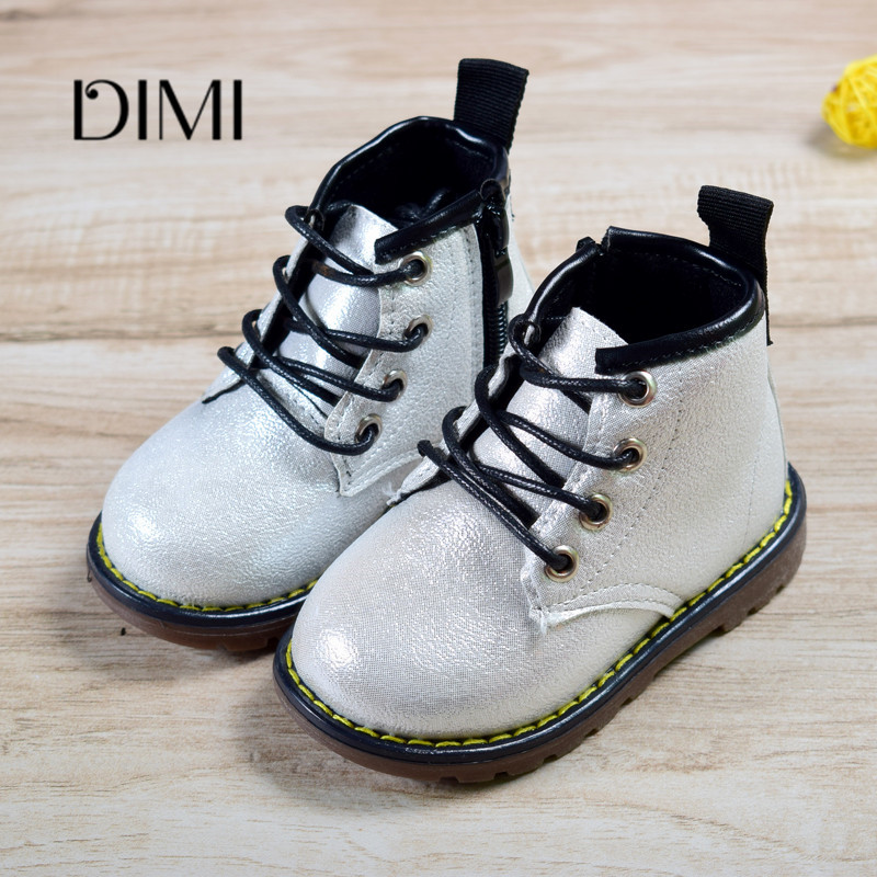 2018 New Autumn Kids Boots Leather Boys Girls Boots Toddler Boots For Kids Lace-up Non-slip  Waterproof Fashion Children's Boots