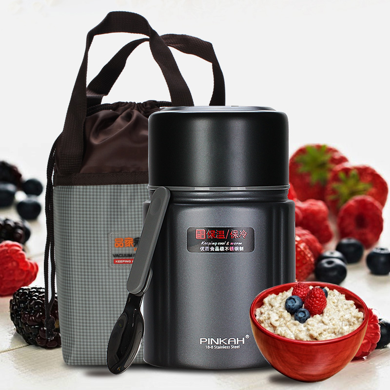 PINKAH 800 ML Termos Food Container food Jar With SpoonStainless Steel Insulated Thermal Keep Heat Office