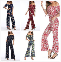 DSQUAENHD Bohemian Floral Print Jumpsuits Rompers Off Shoulder Plus Size Women Jumpsuit Summer Beach Sexy Jumpsuit Overalls