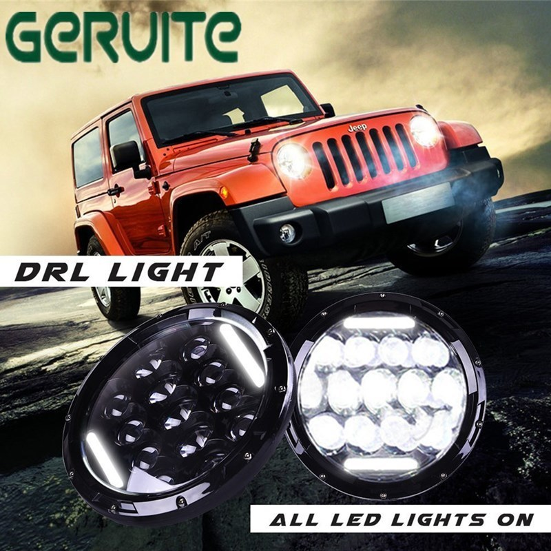 75w Led Headlight 7inch Round High Low Beam DC 12v 24v External Lights for Off Road 4x4 for Jeep Wrangler Jk Tj Lada Niva 7 inch round led headlight 12v eyes lights led high low headlight 7 inch