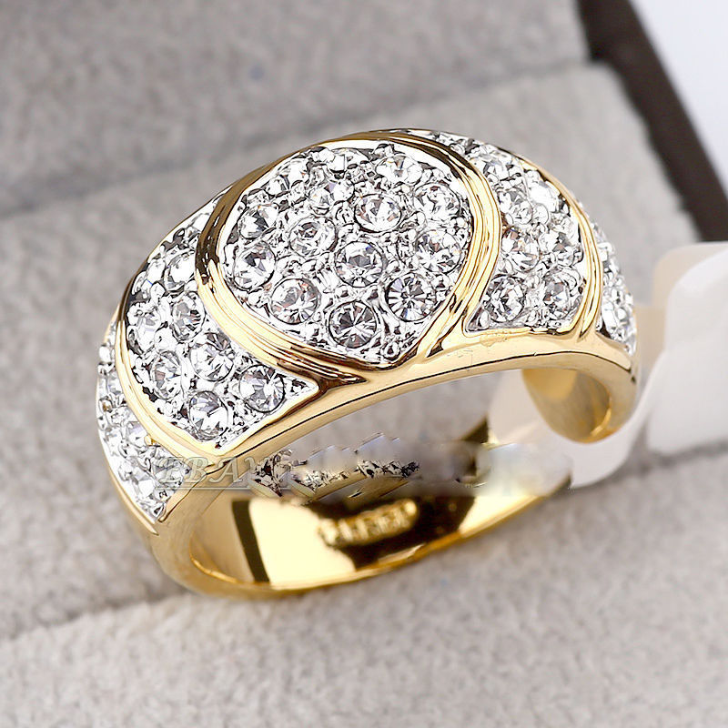 Free shipping shipping> >>>Simulated Sapphire Fashion Ring 18KGP use Crystal Size 6.7.8.9.10# rings